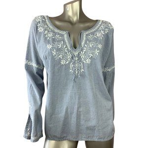 LUCKY BRAND | Chambray Embroidered Peasant Blouse